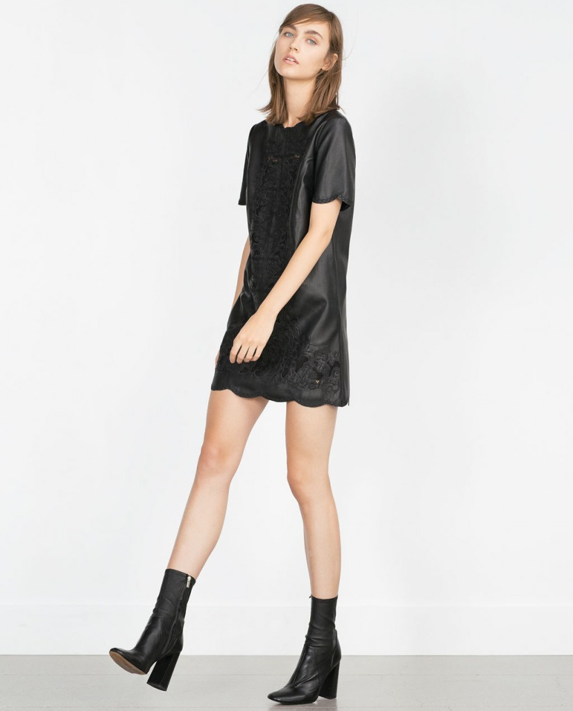 2. Zara Leather Effect Cut Work Dress