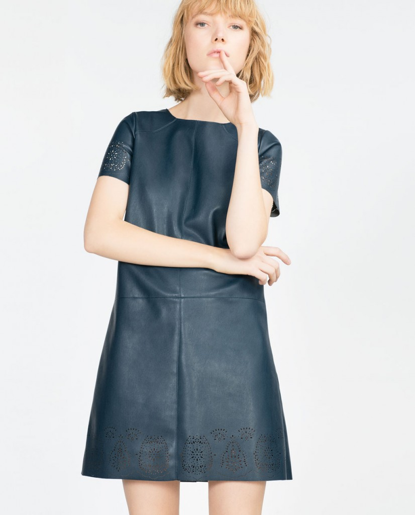 5. Zara Faux Leather Cut Work Dress