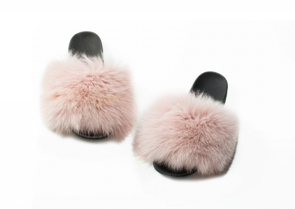2. MA Skinz Fox Fur Slides