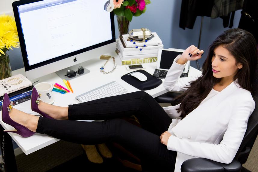 blogger sitting at desk