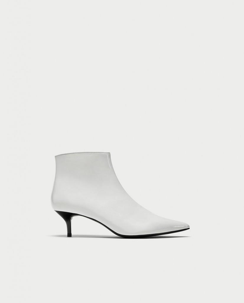 Zara Kitten Heel Faux Patent Ankle Boots