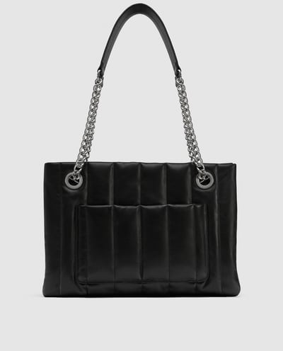 STNF_Work Bag_Zara Quilted Leather Tote Bag with Chain Detail