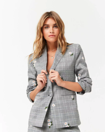Style Nine To Five_Embroidered Spring Jackets_Forever21 Floral Embroidered Plaid Blazer