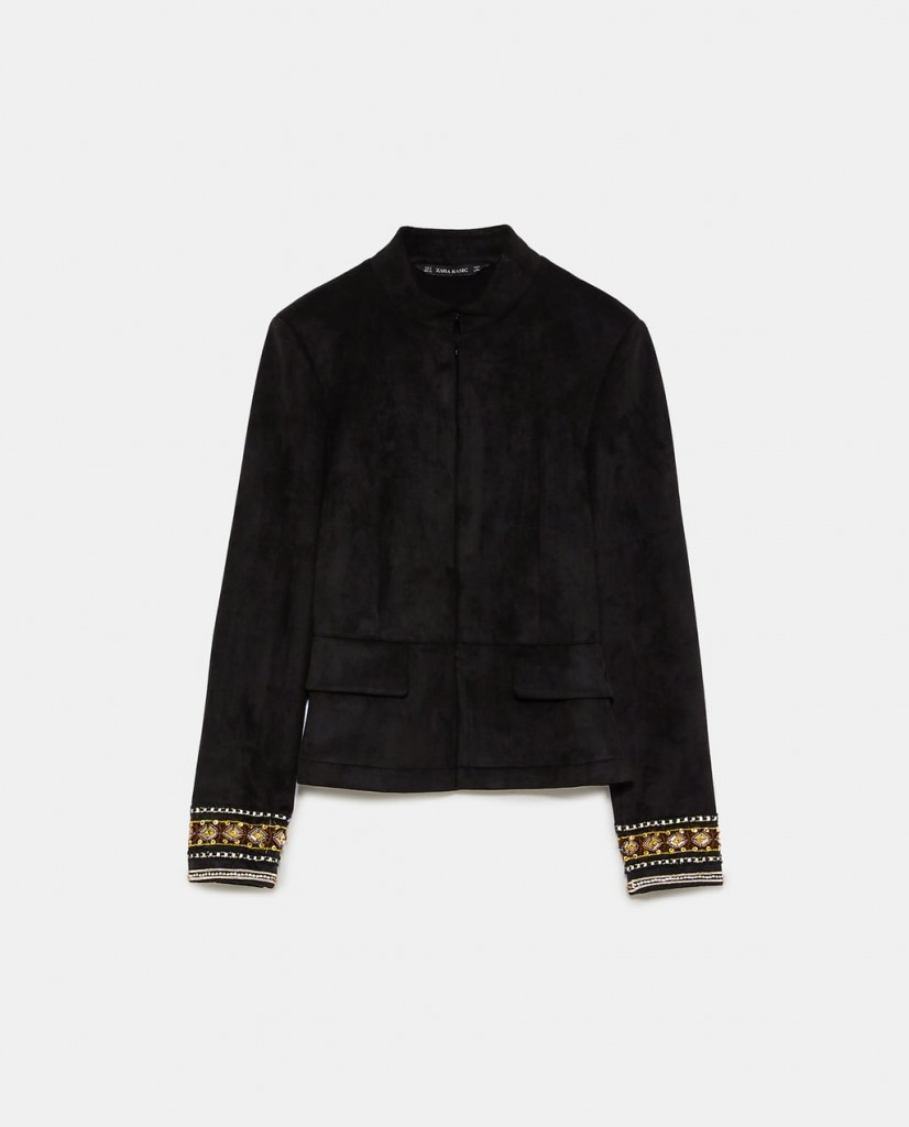 Style Nine To Five_Embroidered Spring Jackets_Zara Embroidered Faux Suede Jacket
