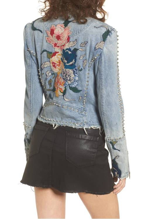 Style Nine To Five_Embroidered Spring Jackets_blanknyc sea of flowers studded denim moto jacket
