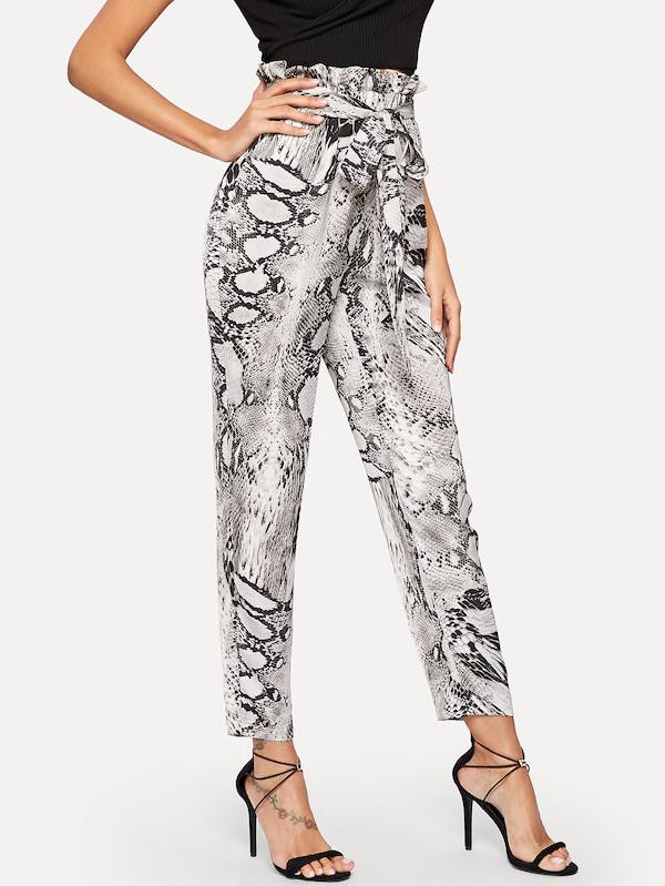 Paperbag Waist Snakeskin Belted Pants