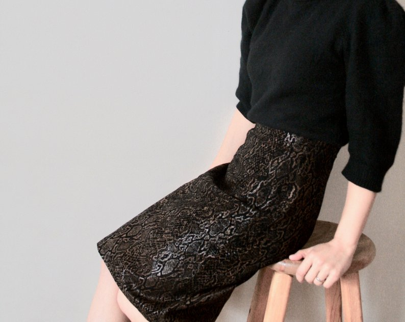 highwaisted snakeskin skirt